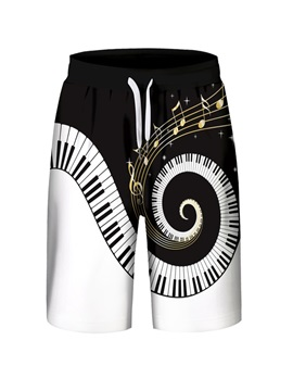 Piano Keys Pattern Loose Model Polyester Material 3D Embellishment Beach Shorts