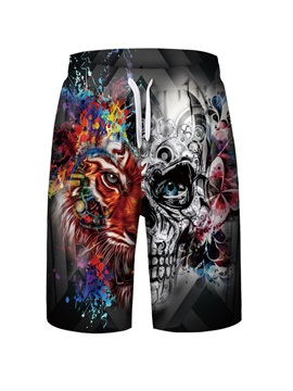 Monster Pattern Polyester Material 3D Embellishment Loose Model Beach Shorts