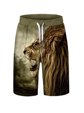 Animal Pattern Loose Model 3D Embellishment Polyester Material Beach Shorts
