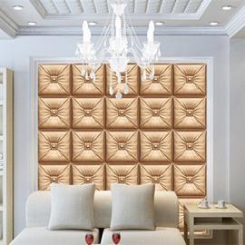 Splendid Golden Three-dimensional Square Plaid Pattern Decorative Wall Murals