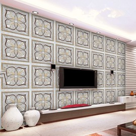 Unique Design Grey Flowers Plaid Design Home Decorative Wall Murals