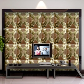 Brown Background with Golden Flowers Plaid Pattern TV/Sofa Background 3D Wall Murals