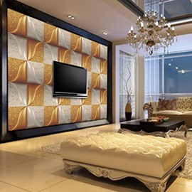 Vivid White and Golden Plaid with Water Drops Decoration Wall Murals
