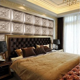 Super Cool Silver Three-dimensional Plaid Pattern Bedroom Decoration Wall Murals