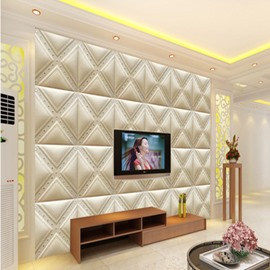Stunning White Elegant Plaid Pattern TV Background Decoration Wall Murals
