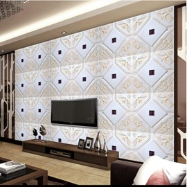 Elegant White Plaid with Beige Flower Decoration TV Background Wall Murals