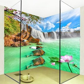 Attractive Waterfalls Lake Scenery Pattern Waterproof 3D Bathroom Wall Murals