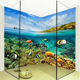 Lifelike Amusing Fishes in the Sea Pattern Waterproof 3D Bathroom Wall Murals