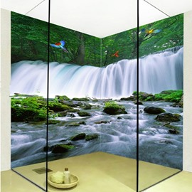 American Style Beautiful Waterfalls Scenery Waterproof 3D Bathroom Wall Murals