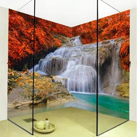 Amazing Modern Design Maples and Waterfalls Pattern 3D Bathroom Wall Murals