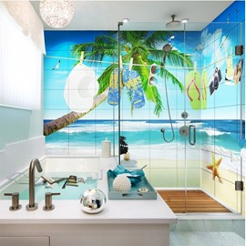 Unique Seaside Scenery Pattern Design Waterproof 3D Bathroom Wall Murals