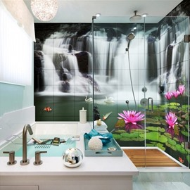 Lifelike Waterfalls and Lotus Pattern Waterproof 3D Bathroom Wall Murals