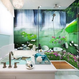 Fancy Waterfalls and Lotus Scenery Pattern Waterproof 3D Bathroom Wall Murals