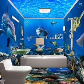 Underwater Animals 3D Waterproof Bathroom Wall Murals