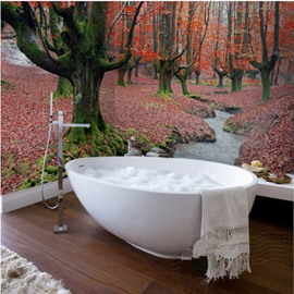 River through the Red Forest Natural Scenery Waterproof 3D Bathroom Wall Murals