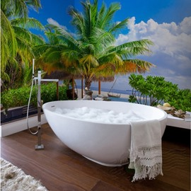 Natural Vivid Coconut Palms by the Sea Scenery Waterproof 3D Bathroom Wall Murals