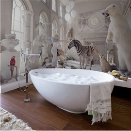 White Vivid Animal in the Palace Waterproof 3D Bathroom Wall Murals