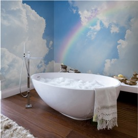 White Cloud and Beautiful Rainbow Pattern Waterproof 3D Bathroom Wall Murals