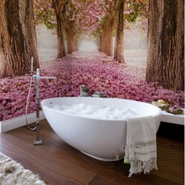 Pink Romantic Sakura Tree Scenery Waterproof Decorative 3D Bathroom Wall Murals