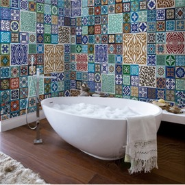 Classic Irregular Pattern European Style Waterproof 3D Bathroom Wall Murals