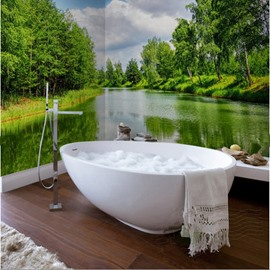 Green Trees on The Riverside 3D Waterproof Bathroom Wall Murals