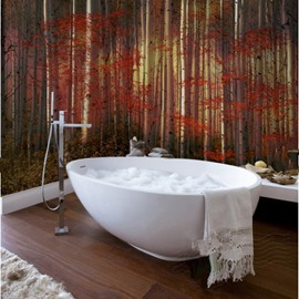 Stylish Creative Design Red Leaves Forest Pattern Waterproof 3D Bathroom Wall Murals