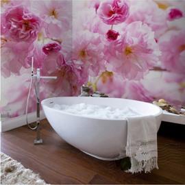 Warm Creative Design Pink Flowers Pattern Waterproof 3D Bathroom Wall Murals