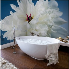 White Paeonia 3D Waterproof Bathroom Wall Murals