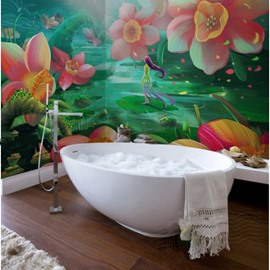 Realistic Beautiful Flowers Pattern Design Waterproof 3D Bathroom Wall Murals