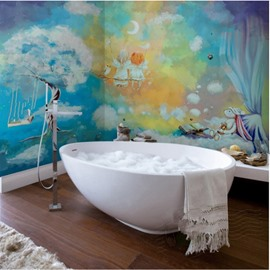 Cartoon Cute Two Lovely Angels Pattern Waterproof 3D Bathroom Wall Murals
