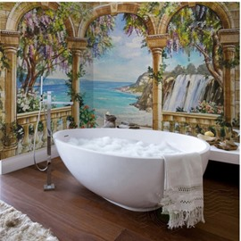 Wonderful Natural Seaside Scenery Pattern Waterproof 3D Bathroom 3D Wall Murals