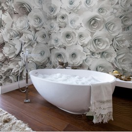 61 White Romantic Roses Pattern Design Decorative Waterproof 3D Bathroom  Wall Murals
