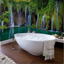3D Waterfalls Forest Scenery PVC Waterproof Dampproof Sturdy Environmental Bathroom Wall Murals