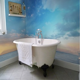 Sunset Sky and Sea 3D Waterproof Bathroom Wall Murals