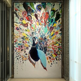 Realistic Gorgeous Handmade Peacock Pattern Waterproof 3D Wall Murals