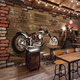 3D Motorcycle Pattern Vintage Style PVC Waterproof Eco-friendly Brown Wall Murals