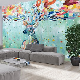 Fabulous Colorful Sika Deer Pattern PVC Waterproof Durable 3D Wall Murals