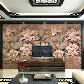 Classic Lotus Flowers Pattern Home Decorative Waterproof 3D Wall Murals