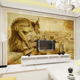 Amusing Monster Statues and City Scenery Pattern Waterproof 3D Wall Murals