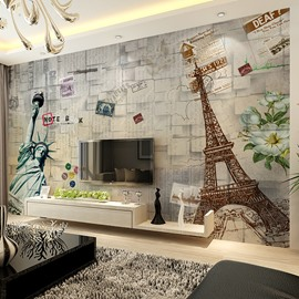 Classic Statue of Liberty and Eiffel Tower Pattern Waterproof 3D Wall Murals
