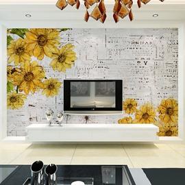 Wonderful Daisy Flowers Pattern Decorative Waterproof 3D Wall Murals