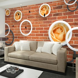 White Circle Roses Flower on Red Brick Wall Pattern Waterproof 3D Wall Murals