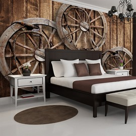 Vintage European Style Wheel Pattern Waterproof 3D Wall Murals
