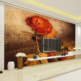 Orange Rose and Autumn Leaves Pattern Waterproof 3D Wall Murals