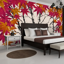 Autumn Maple Leaves Pattern Room Decoration Waterproof 3D Wall Murals