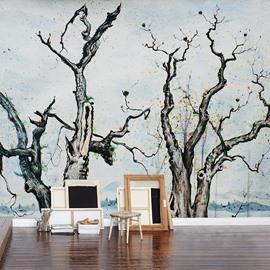 Black Several Sere Trees Pattern Living Room Decoration Waterproof 3D Wall Murals