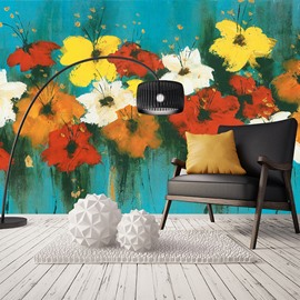 Magical Colorful Flowers Pattern Waterproof 3D Wall Murals