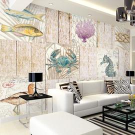 Mediterranean Style Simple Marine Organism Pattern Waterproof 3D Wall Murals