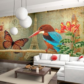 Fancy Country Style Eiffel Tower and Bird Pattern Decorative Waterproof 3D Wall Murals