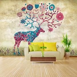 Colorful Sika Deer Pattern Design Waterproof Home Decorative 3D Wall Murals